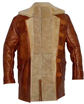Bane Dark Knight Rises Real Shearling Sheepskin Leather Trench ...
