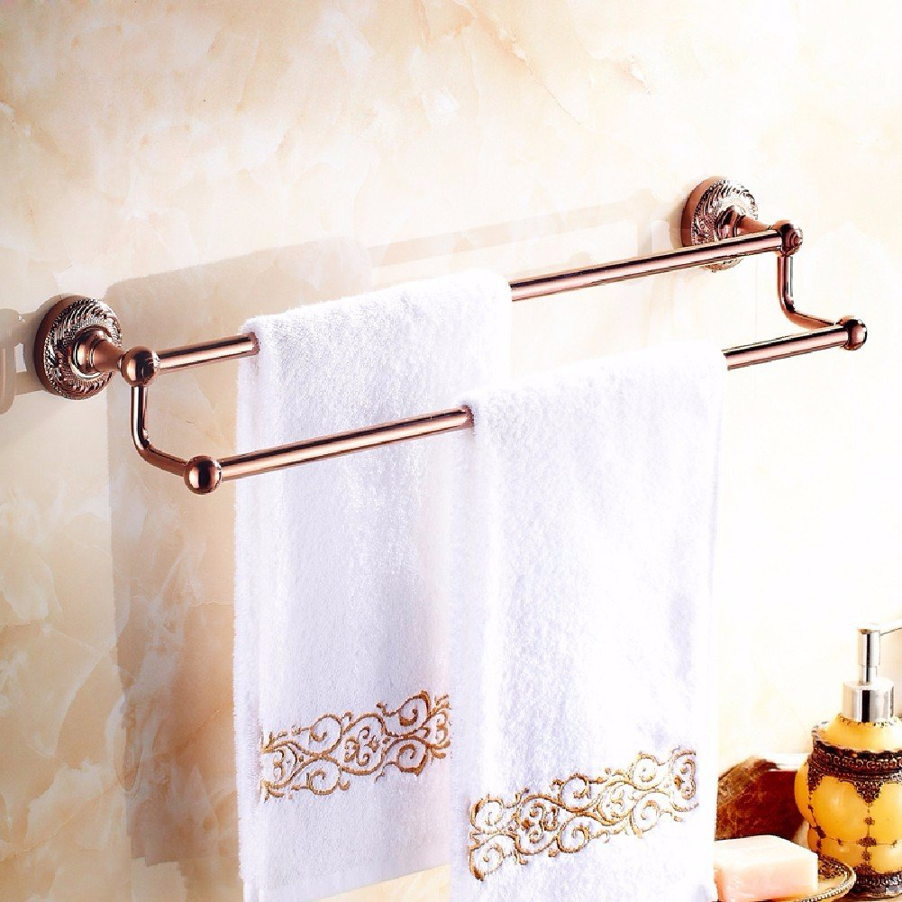 HQLCX Golden Towel Stand, All Copper Double Pole, European Style Antique Towel Bar,C