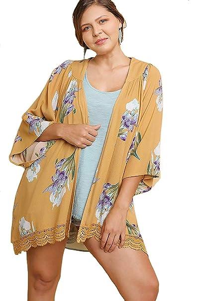 0cdd7ec93989d0 Bluheaven Women's Plus Size Floral Print Open Front Kimono Crochet Trim  Cardigan: Amazon.ca: Clothing & Accessories