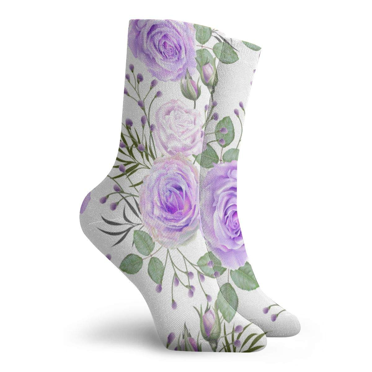 Rose-purple-color Unisex Funny Casual Crew Socks Athletic Socks For Boys Girls Kids Teenagers