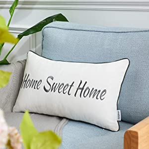 Sunkifover Farmhouse Home Sweet Home Throw Pillow Cover 12x20 Inch,Embroidery Lumbar Pillow Case Cushion Cover, Decorative Pillows for Bed, Sofa,Couch,Living Room Grey.