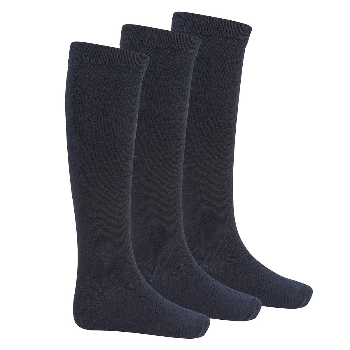 Bay 6 Kids Plain Cotton Rich Knee High School Socks