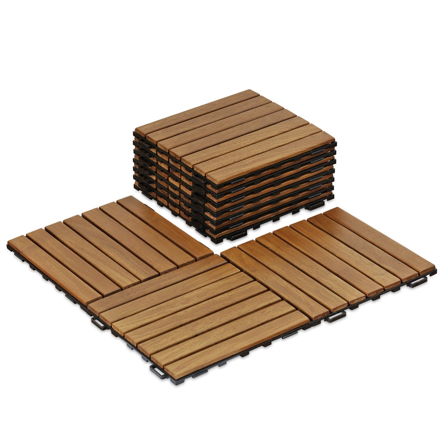 FURINNO FG161033 Tioman Outdoor Floor Wood Tile Interlock 10 Piece/CTN, Honey Oak Color Doormats