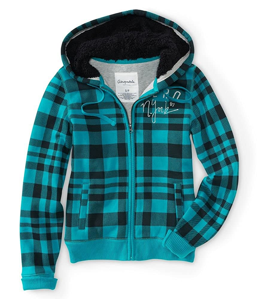 Aeropostale Womens Aero New York Plaid Full-Zip Hoodie Sweatshirt