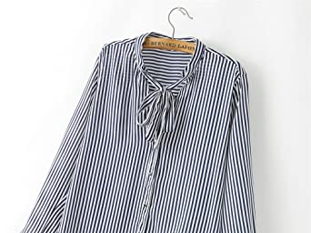 SYGoodBUY Camisa de Mujer de Manga Larga V Cuello de Corbata Blusa ...