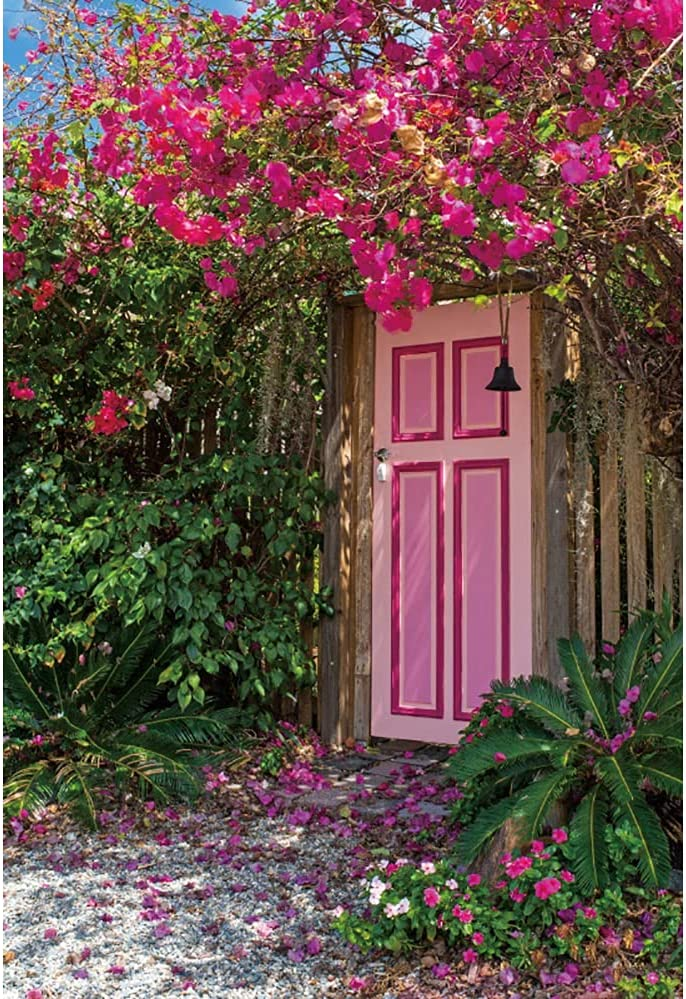 Haoyiyi 6.5x10ft Spring Garden Backdrop Pink Flower Floral Door Green Plant Country Path Photography Background Spring Summer Leisure Holiday Vacation Wedding Party Adult Child Kid Photo Studio Props