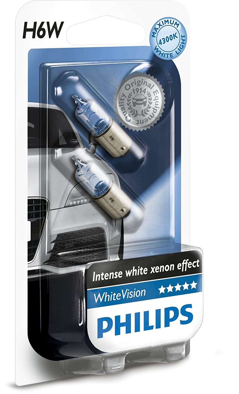 Philips WhiteVision Xenon-Effekt H6W Autolampe 12036WHVB2, Doppelblister Lumileds Germany GmbH
