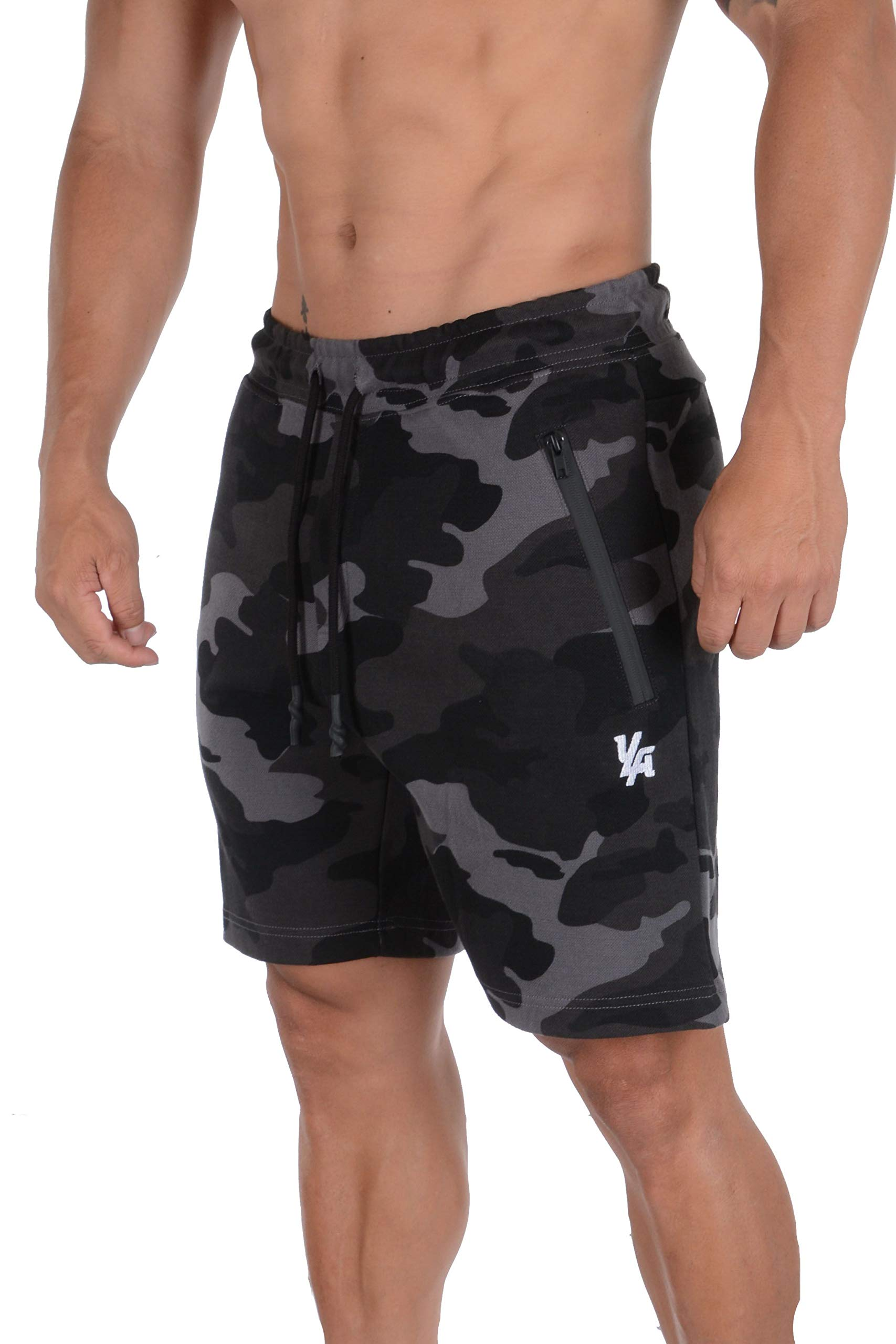 YoungLA Mens Shorts with Zipper Pockets | Casual Gym Training 108 | Camo Black Medium by YoungLA