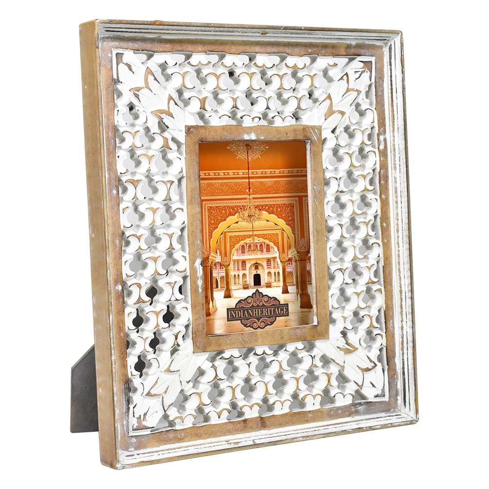 IH-0055 Indian Heritage Wooden Photo Frame 5x7 MDF Cutwork Design in White Distress Finish Leo Arts India