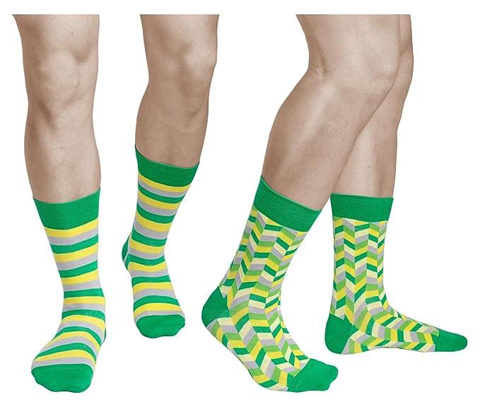 vitsocks Calcetines Coloridos Hombre (2x PACK) Originales Verde Amarillo Gris ALGODÓN, Joy: Amazon.es: Ropa y accesorios