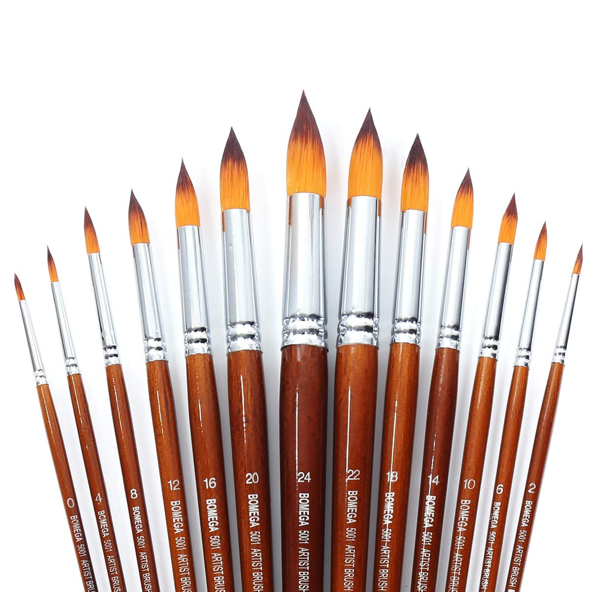 13 Pcs Long Handle Pointed Round Large Paint Brushes Set with Premium Quality Synthetic Sable Hair for Acrylic Watercolor Oil Gouache Painting by Art Students, Professionals and Artists by ONE HAPPY CHOICE