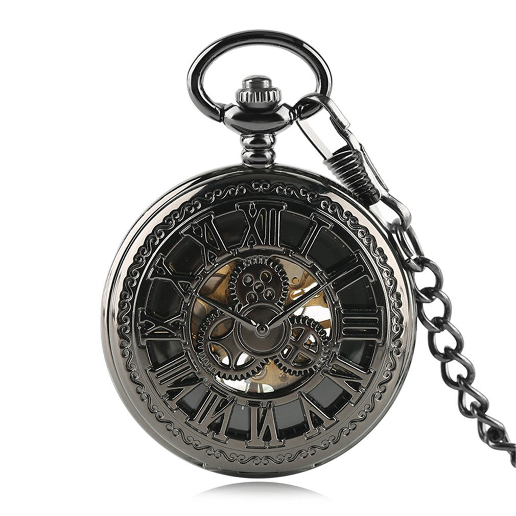 Steampunk Hollow Gear Black Steel Mechanical Pocket Watch Fob Chain Cool Gifts
