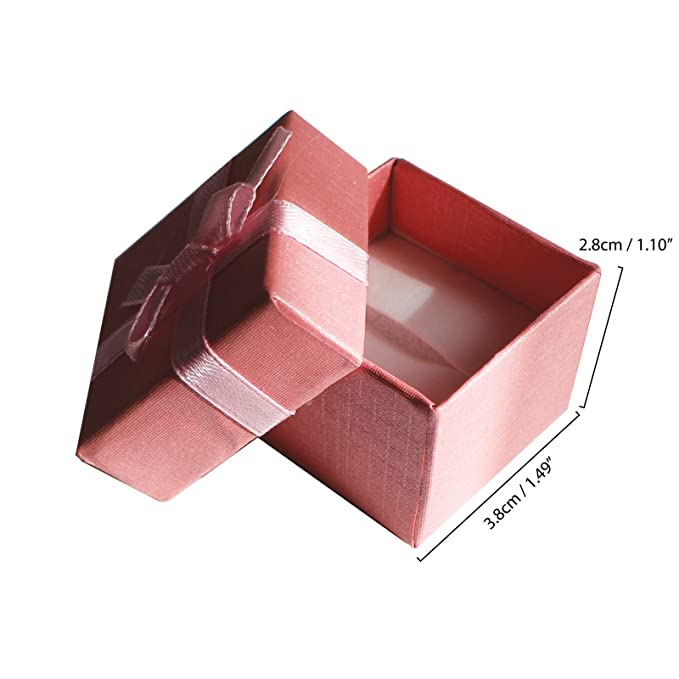 Inserto con Ranura para Anillos y Pendientes Pack de 24 Cajas para Joyas Anillo Exhibir Regalos con Inserto de Terciopelo por Kurtzy Cajas de Presentaci/ón de 3,8 x 2,8 cm Dise/ño de Lazo y Cinta