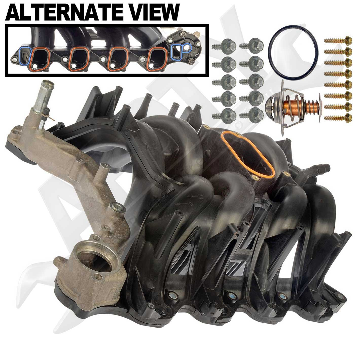 APDTY 726299 Intake Manifold Assembly w/ Upgraded Aluminum Front Coolant Passage O-Ring Gaskets & Thermostat Fits 2000-2015 Ford Trucks & Vans w/ 5.4L Engine (4C2Z-9424-CA, 2L1Z-9424-AA, 5C2Z9424AA)