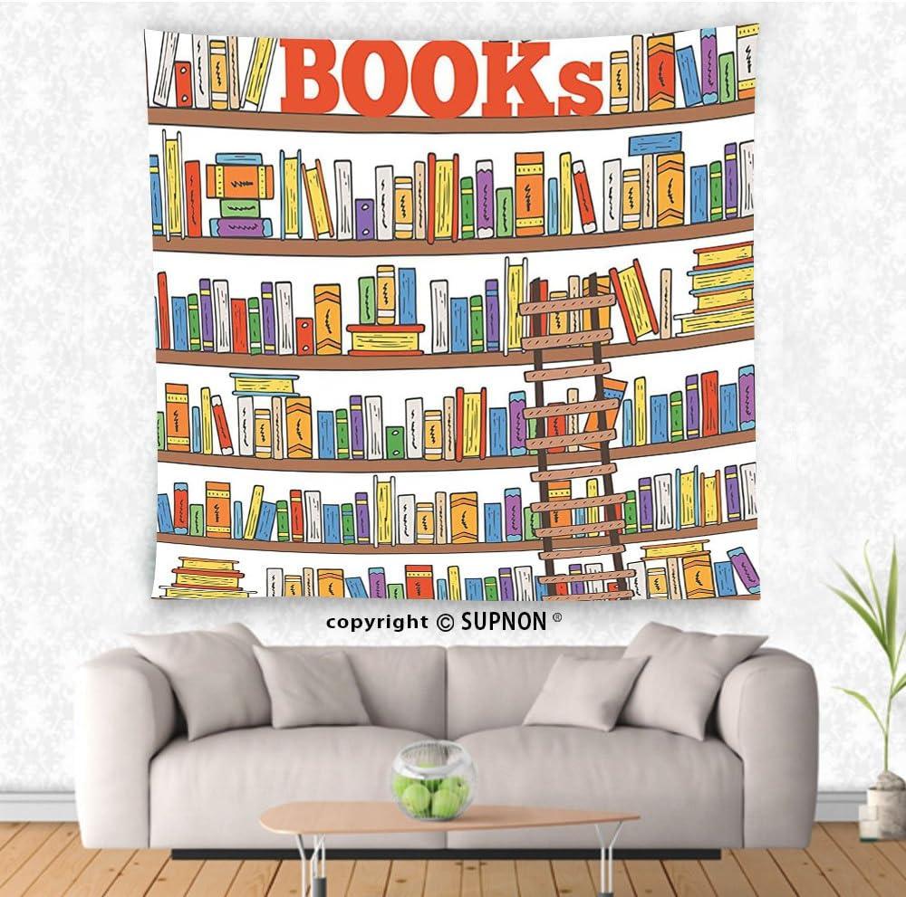 VROSELV Custom Tapiz Tapiz Moderno Biblioteca estantería con una Escalera Educación Escolar Campus Vida Caricatura ilustración Colgar en la Pared para Dormitorio salón Dormitorio: Amazon.es: Hogar