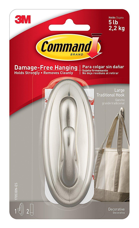 Command Traditional Large Plastic Hooks, Brushed Nickel, 3-Hook