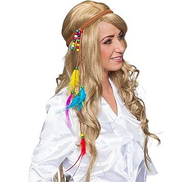 95280e119b0578 NET TOYS Hippie Haarband 70er Stirnband mit Federn Flower Power Haarschmuck  Blumenkind Kopfband