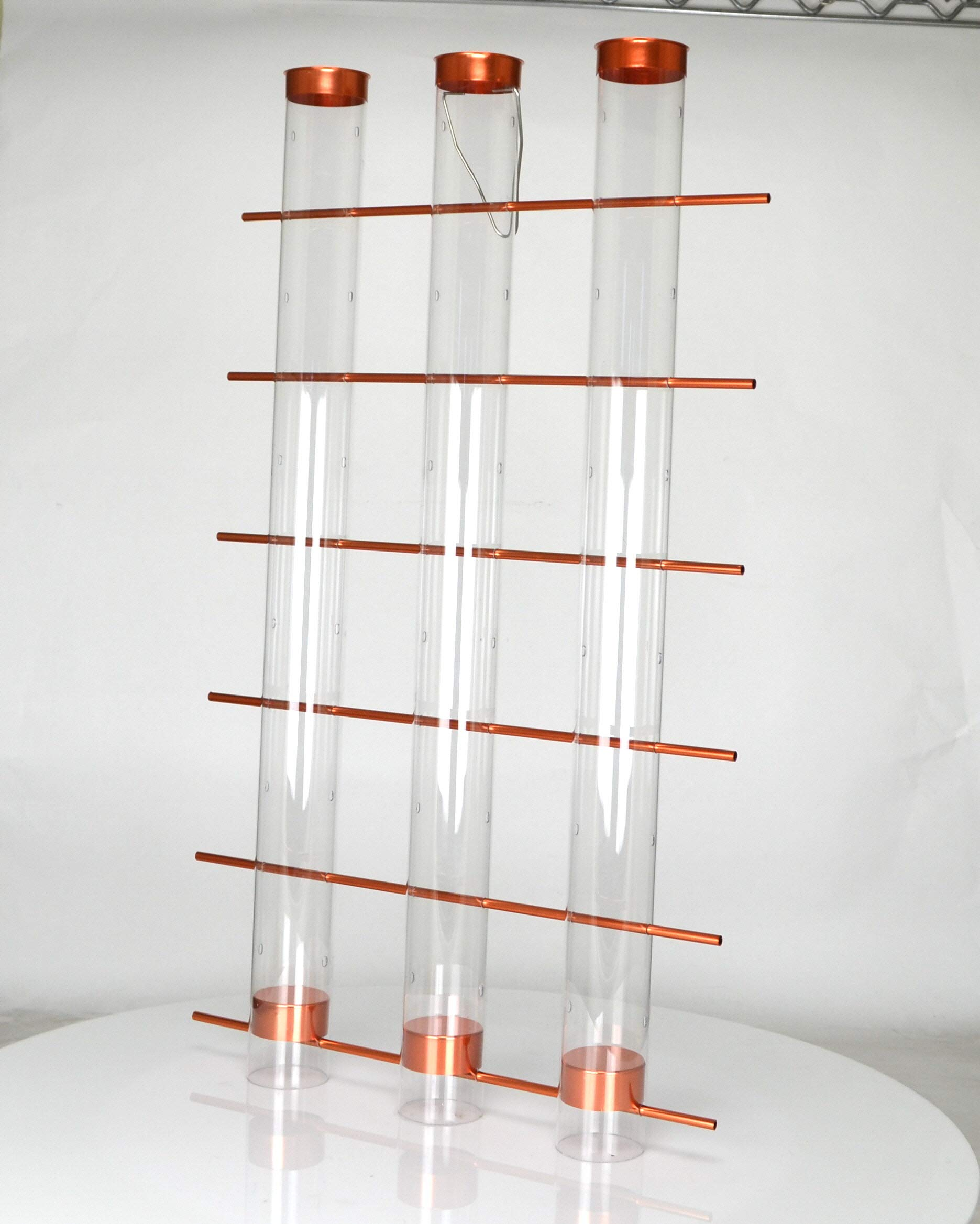 Songbird Essentials Copper Finish Finches Favorite 3 Tube Bird Feeder Se324c by Songbird Essentials
