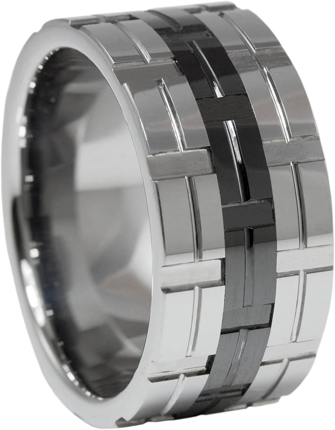 Tungsten Ring Gold IP Carbide 12MM Pipe Cut Polished Channels Comfort Sz 10-16