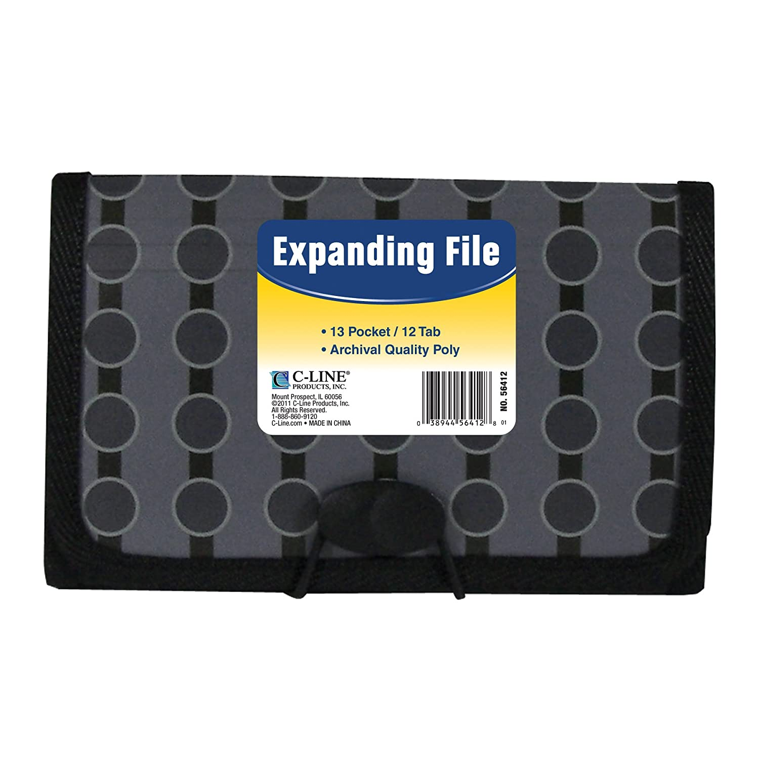 C-Line 13-Pocket Expanding File, Coupon Size, Includes Tabs, 1 File, Fashion Circle Series, Black/Gray (56412) C-Line Products Inc.