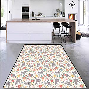 """Children Kids Nursery Rugs Floor Carpet, Powder Puff Tailed Bunny, Circle Rugs for Living Room 5'8""""x8'5"""""""