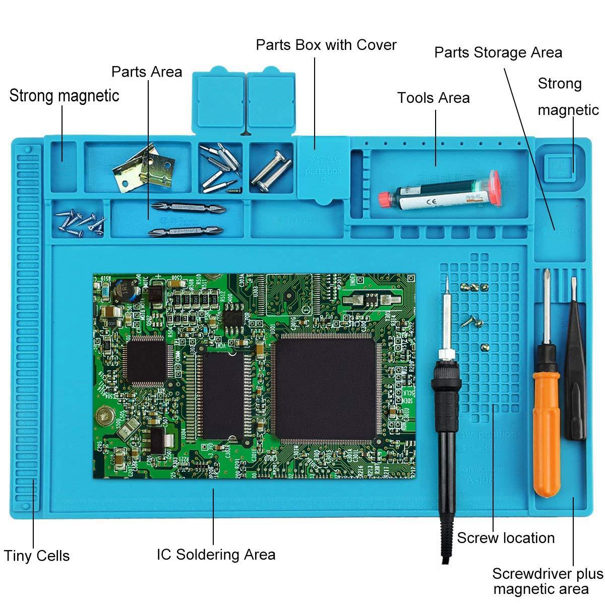 Tammltide Antistatische Ltmatte 500 Hitzebestndige Magnetische Evo 2050 Wiring Diagram Mehrzweckarbeitsplatz Pad Zum Lten Telefon Uhr Reparatur 45 X 30 Cm