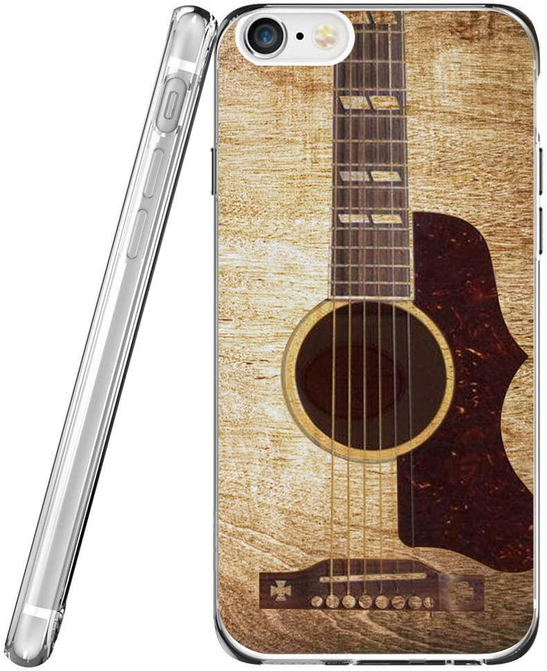 Case for iPhone 8/7 / SE 2020 Guitar & Protector for Phone SE & MUQR Flexible Gel Silicone Slim Drop Proof Protection Cover Compatible with iPhone 7/8 / SE 2 & Vintage Guitar Music Theme