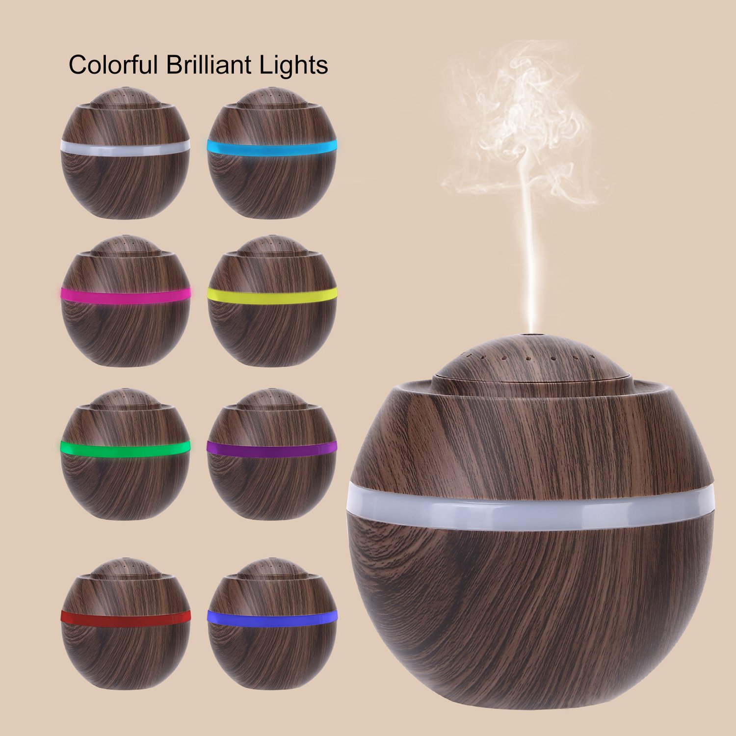 Cool Mist Humidifier Ultrasonic Aroma Essential Oil Diffuser for Office Home Bedroom Living Room Study Yoga Spa - Wood Grain (Brown) by O'abazar (Image #6)