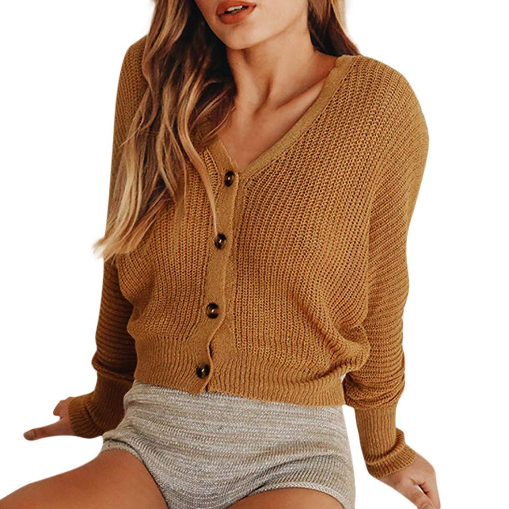 Clearance Sale Wobuoke Fashion Autumn Knitted Solid Cardigan Button Tops Shirt