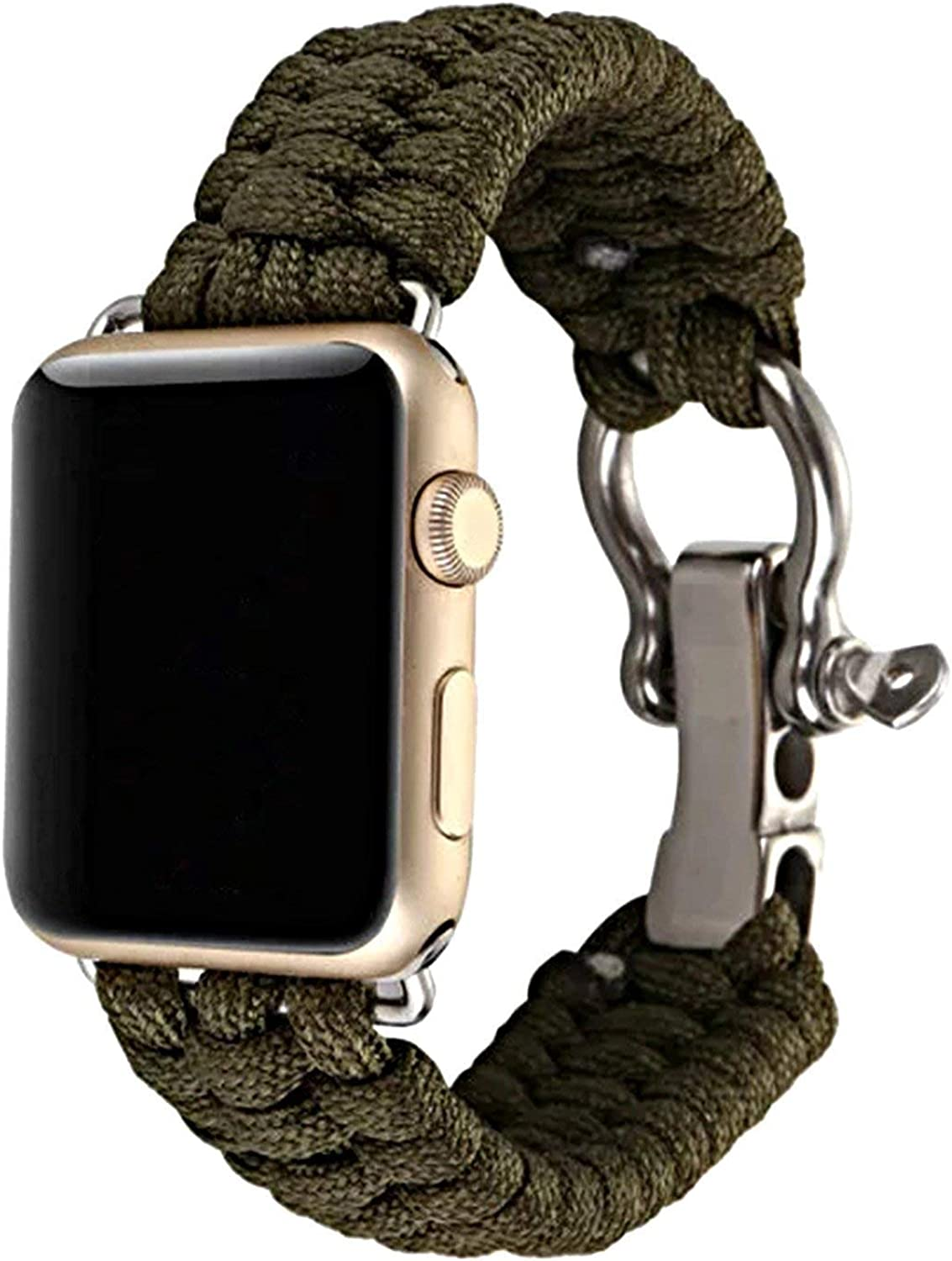 XUANTAI Apple Watch Band 38mm Paracord Series 4 Replacement Sports with Adjustable Size Outdoor Survival Stainless Steel Shackle (Olive Color)