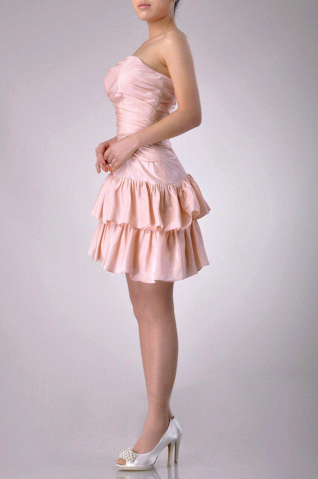 Taffeta Natrual Bateau Short Strapless Homecoming Modest Bridesmaid Dress Short, Color White,14 by Adorona (Image #4)