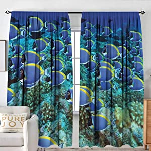 "NUOMANAN Insulating Blackout Curtains Ocean,School of Powder Blue Tang Fishes in The Coral Reef Maldives Deep Seas,Aqua Blue and Yellow,Drapes Thermal Insulated Panels Home décor 54""x84"""