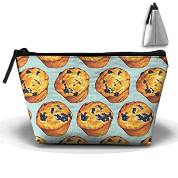 8fa354373a Amazon.com : Makeup Bag Cosmetic Pouch Travel Bag Tote Blueberry Muffin  Bakery(1125) With Zipper Closure For Women Girls : Beauty