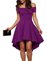 Aolakeke Women Casual Off Shoulder Formal Party Cocktail Dress With Short Sleeves
