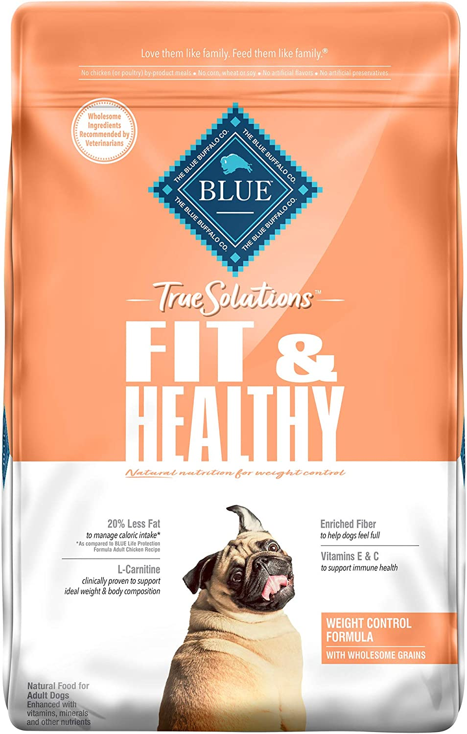 Blue Buffalo True Solutions Fit & Healthy Natural Weight Control Adult Dry Dog Food, Chicken 24-lb