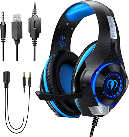 AUSDOM 3.5mm Gaming Headset MIC LED Wired Headphones Stereo Surround For PC PS4