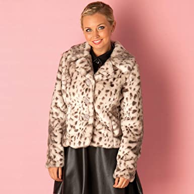 a6617e8ff Qed London Womens Womens Snow Leopard Fur Jacket in Silver - 14: QED LONDON:  Amazon.co.uk: Clothing