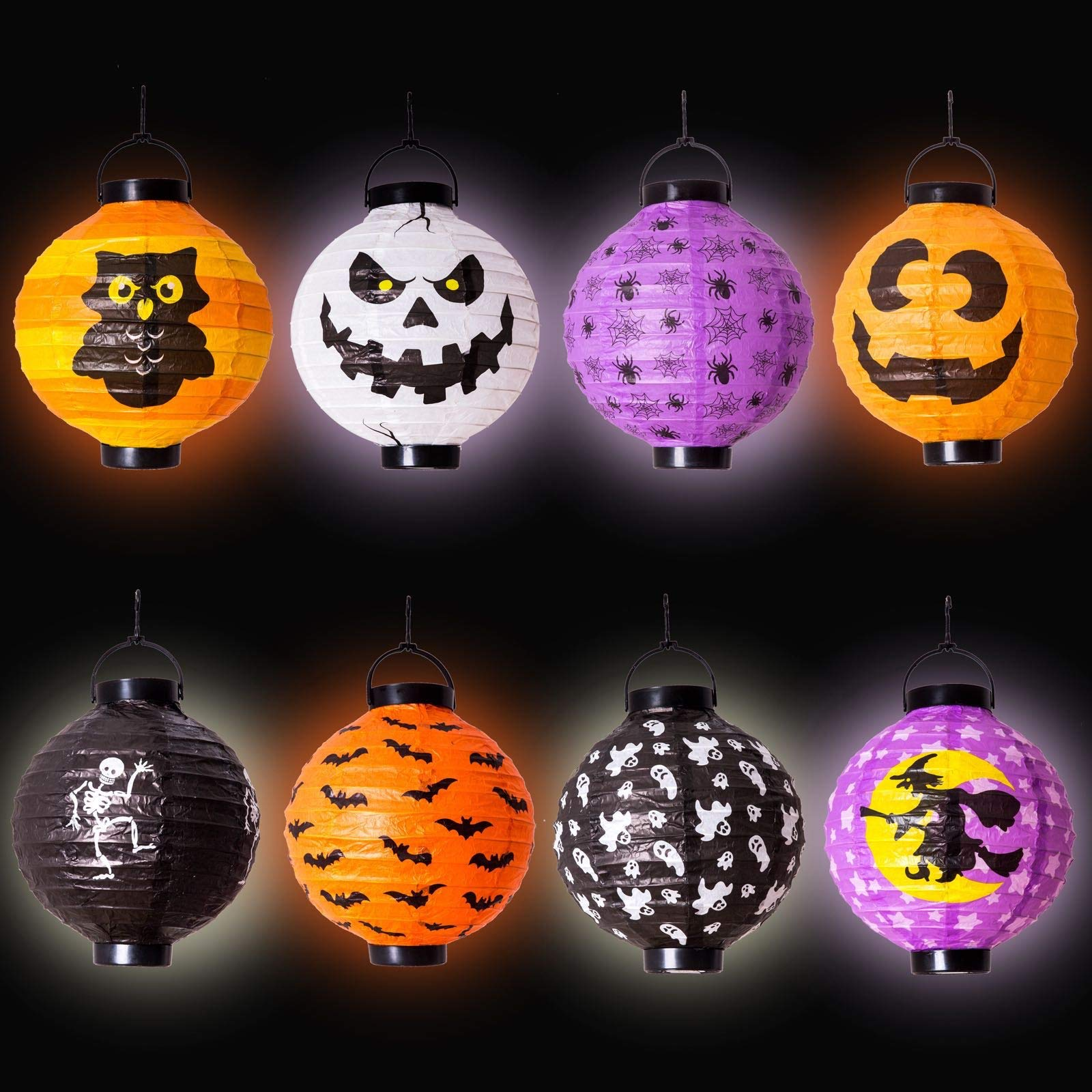8 Halloween Decorations Paper Lanterns with LED Light With different style for Halloween Party Supplies Halloween Party Favor (12.5-inch tall include Hanging Hook)(Batteries not included) by JOYIN