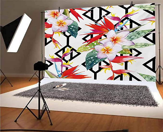 8x10 FT Photo Backdrops,Exotic Hand Drawn Hibiscus Flowers Sketch Thriving Plants on Grid Squares Backdrop Background for Baby Shower Birthday Wedding Bridal Shower Party Decoration Photo Studio