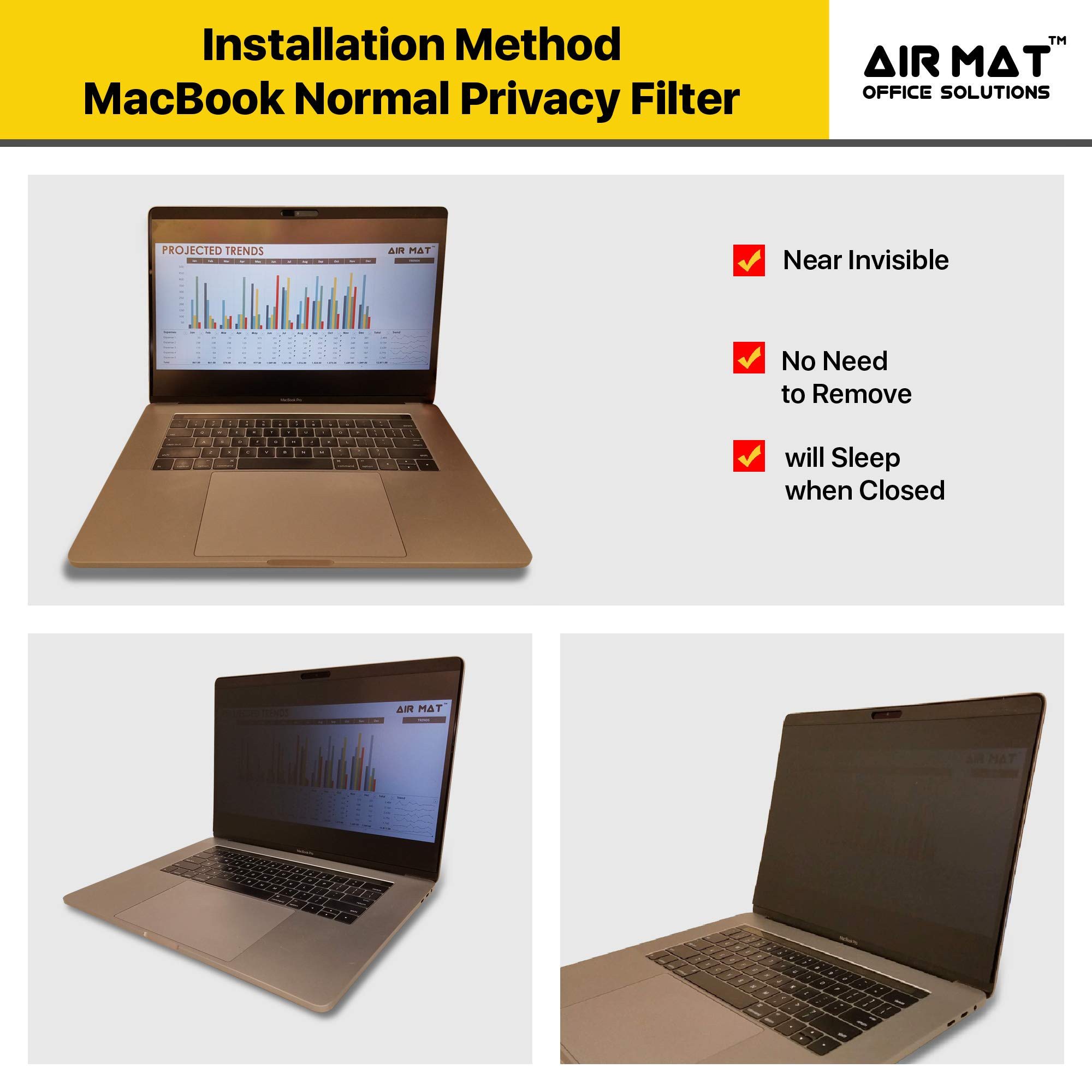 15 Inch MacBook Pro Privacy Filter with Retina Screen Display, best as removable Anti Glare Blue Light Protector Film for data confidentiality - for Apple Model A1398 (MacProR 15'') by Air Mat (Image #3)
