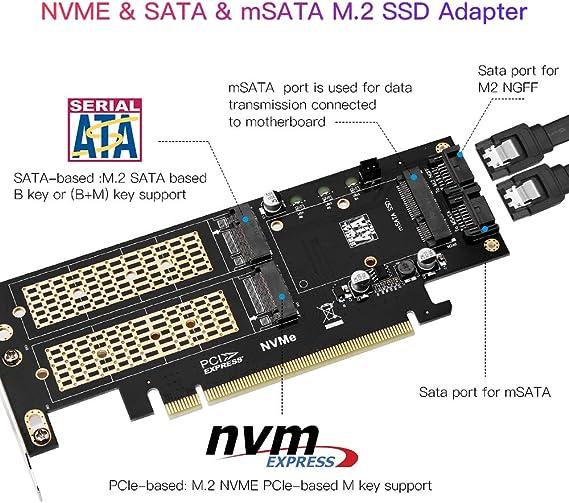 hudiemm0B mSATA NGFF 2 in 1 SSD to SATA 3 Adapter Card High Speed 65Gbps mSATA M.2 B-Key NGFF 2 in 1 SSD to SATA 3 Adapter Converter