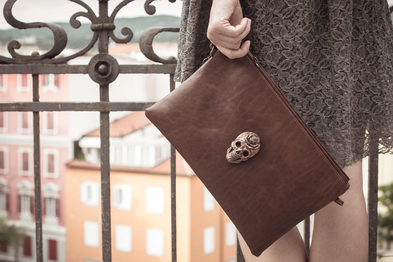 Large Brown zipper Leather Clutch with bronze sugar skull, iPad case, iPad mini