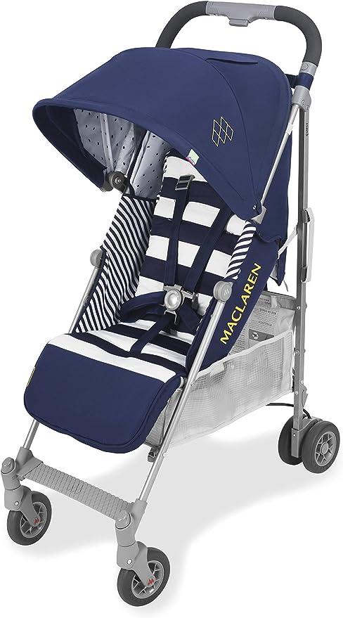 Opinión sobre Maclaren Quest arc Silla de paseo - ligero, manillar unido, para recién nacidos hasta los 25kg, Asiento multiposición, suspensión en las 4 ruedas, Azul (Regency Stripe)