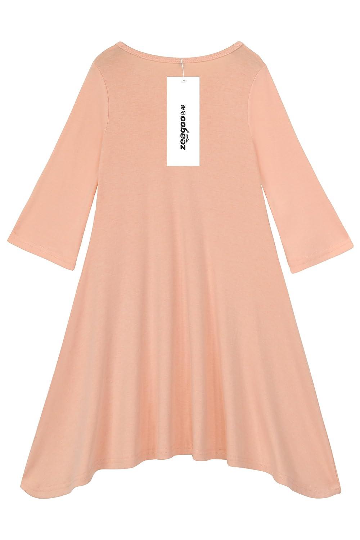151266b61bd0 Amazon.com  Zeagoo Little Girls Soft Cotton Long Sleeve Butterfly Print  A-Line Dress On Sale  Clothing