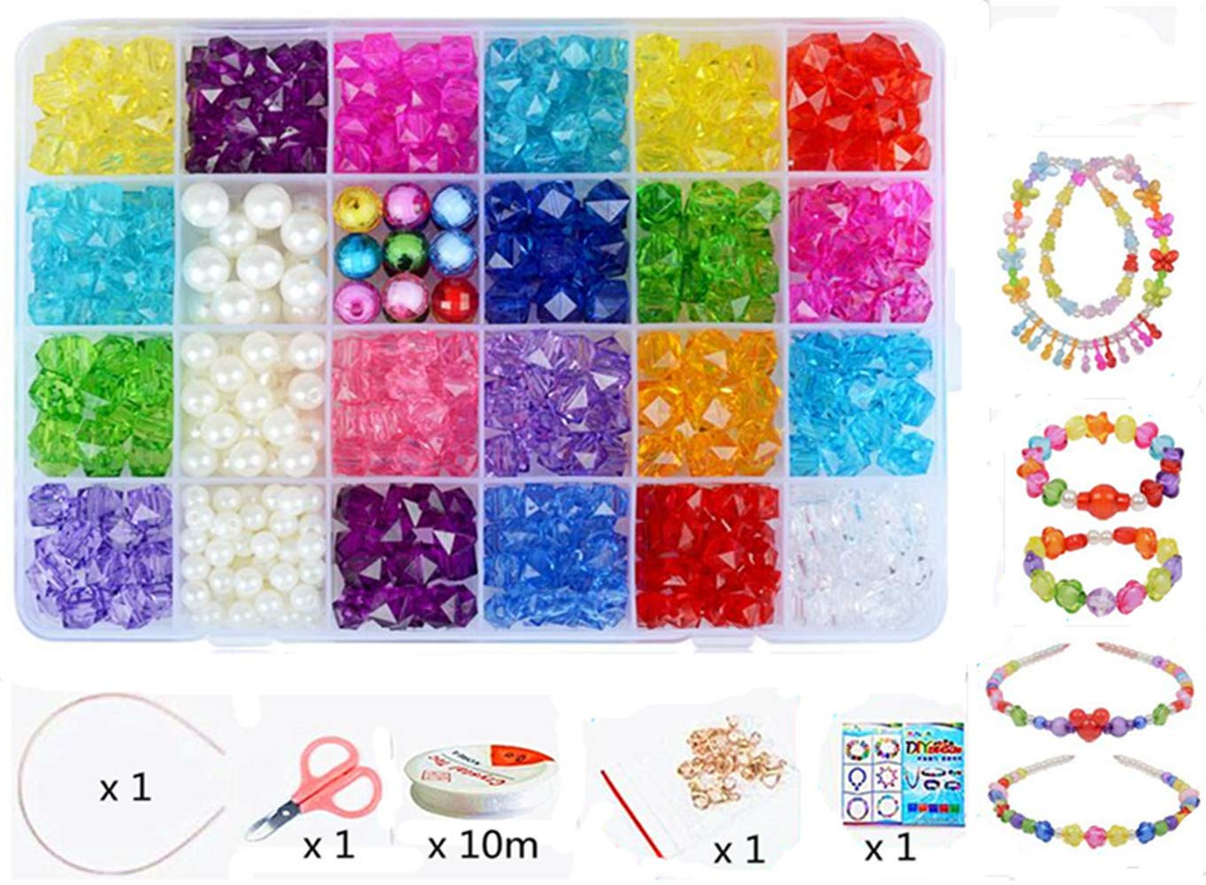 Vytung Beads Set for Jewelry Making Kids Adults Children Craft DIY Necklace Bracelets Letter Alphabet Colorful Acrylic Crafting Beads Kit Box with Accessories(color#1) Wtong YT002