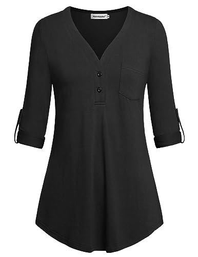 Nandashe Women Split V-Neck 3/4 Roll-Up Sleeve Button Down Casual Blouses Shirts