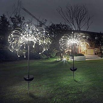 Innotic Fairy Garden Solar Lights Outdoor Christmas Starbright Lights Firework Led Decoration Lamp Garden Lights Powered Waterproof Warm White 1 Pcs Amazon Co Uk Lighting