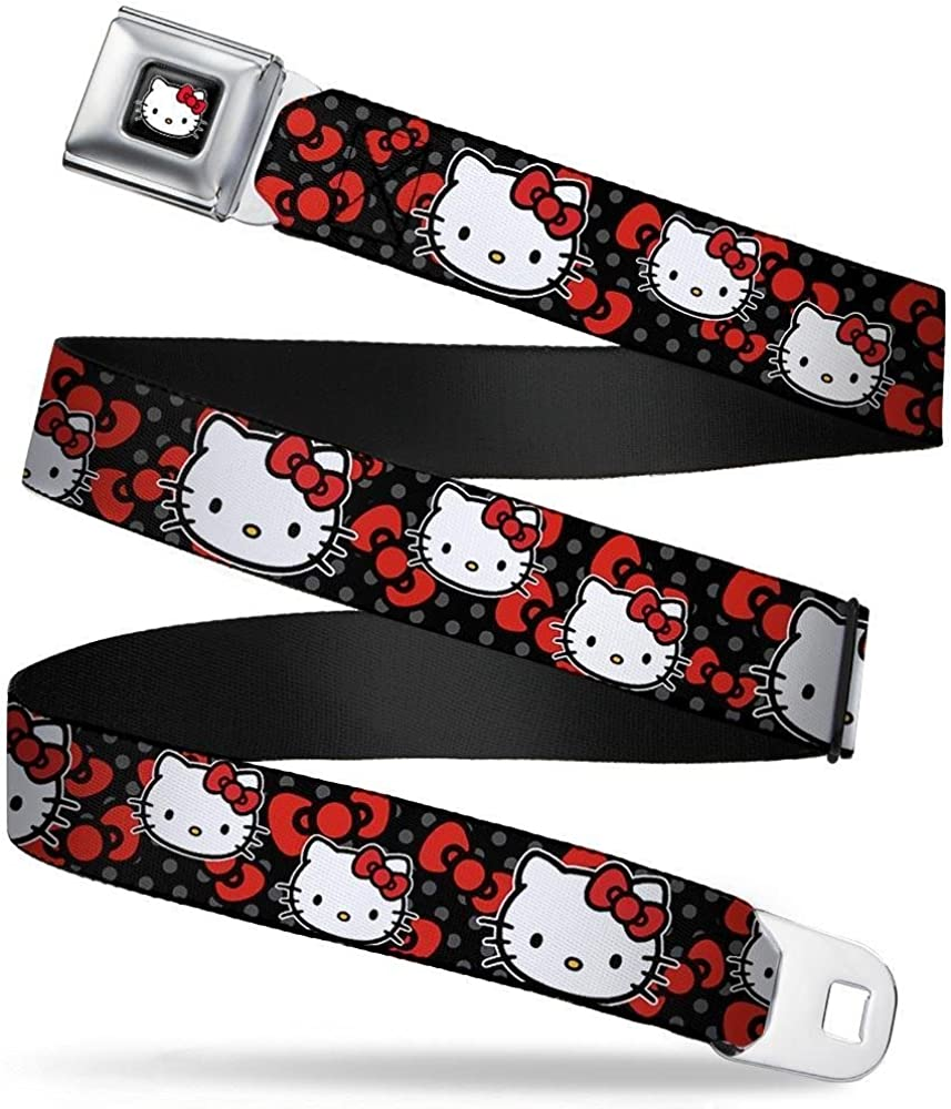 Buckle-Down Seatbelt Belt Hello Kitty Multi Face w//Mini Dots//Bows Black//Gray//Red 20-36 Inches in Length 1.0 Wide