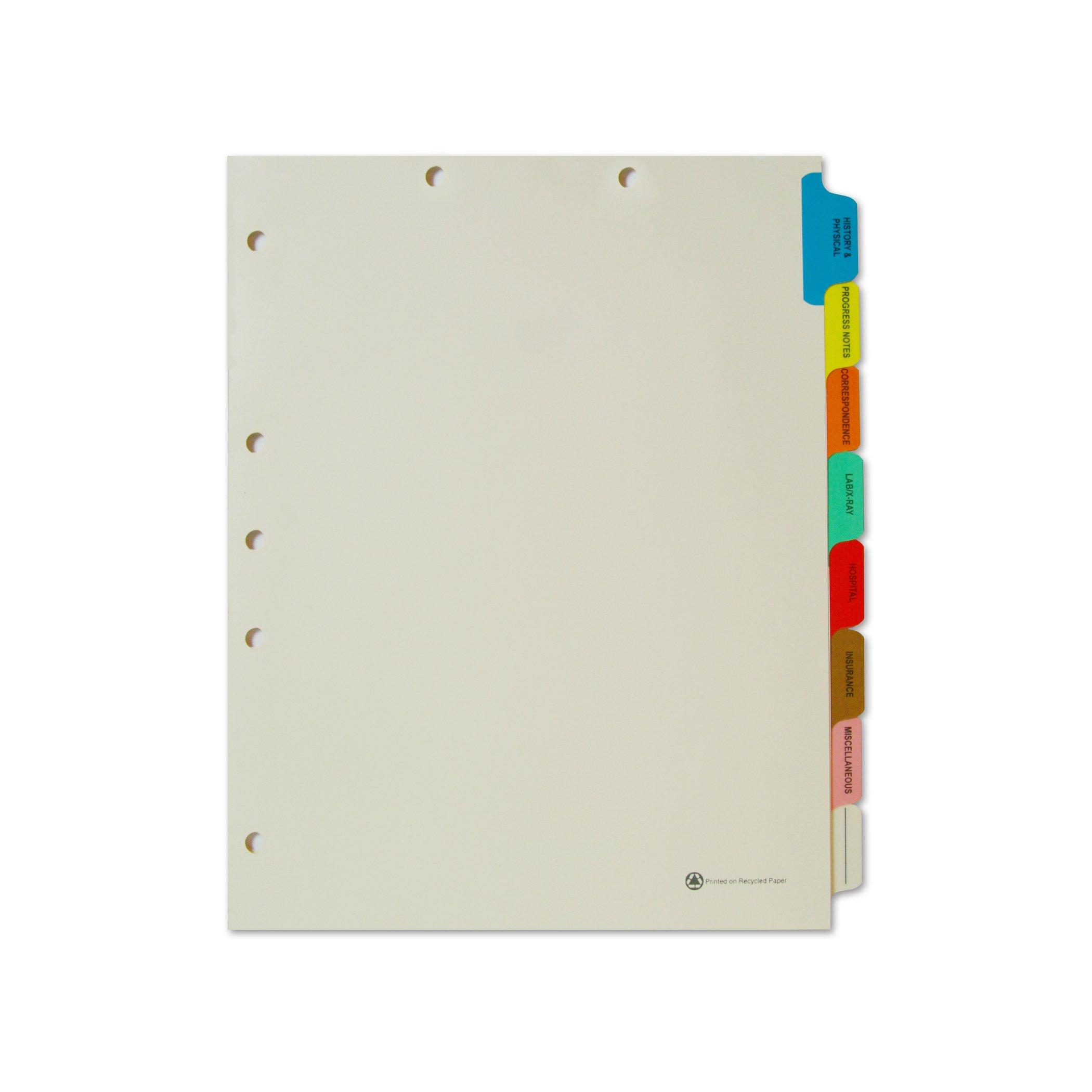 Medical Arts Press Match Medical Chart Index Dividers- 8 Tabs, Letter Size, Manila, Side Tab (175 Sets/Box)