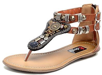 58ff37ef43bd9 Odema Womens Flat Sandals Bohemian Beads Coin Back Zip Thong Dressy Shoes